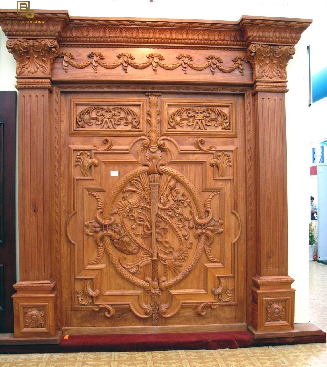 Mẫu cửa gỗ gõ đỏ BG 6222
