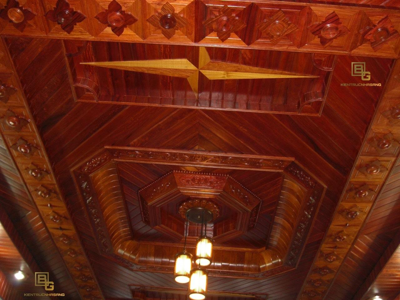 Mẫu trần gỗ Gọ Đỏ đẹp