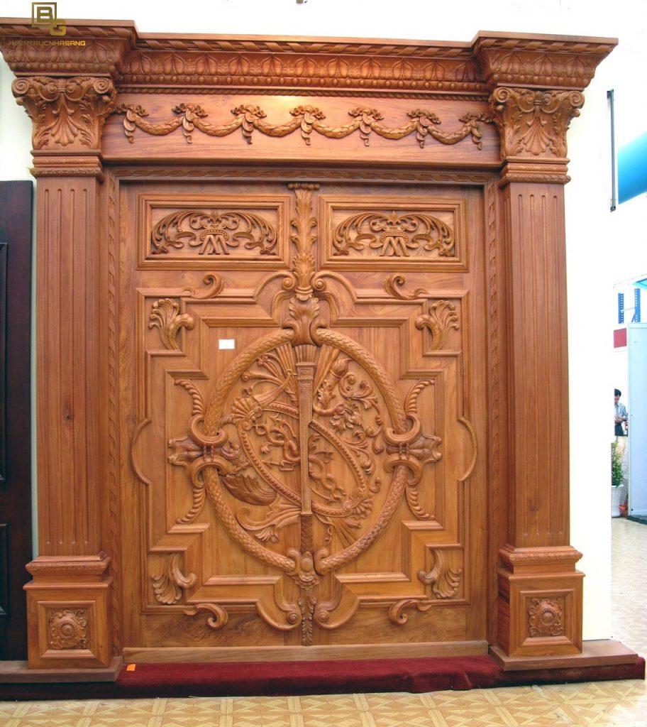 Mẫu cửa gỗ gõ đỏ BG 62